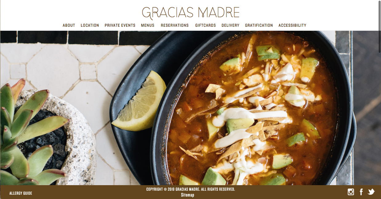 this is an image of gracias madre in west hollywood's website